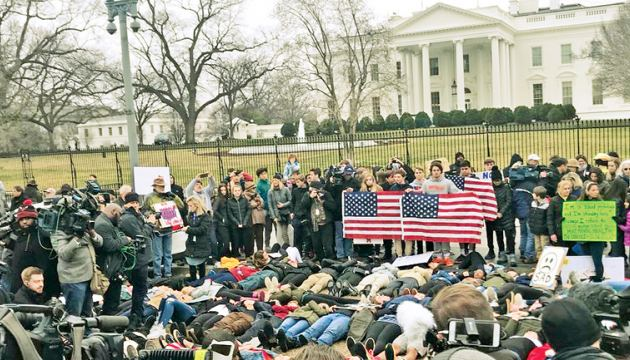 The 'lie-in' demonstration staged near the White House.