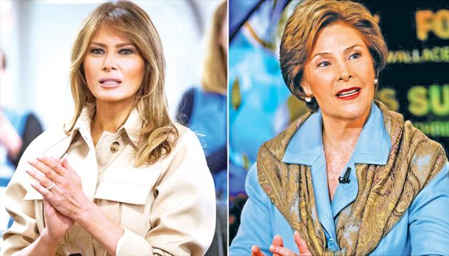 US First Lady Melania Trump and former First Lady Laura Bush.