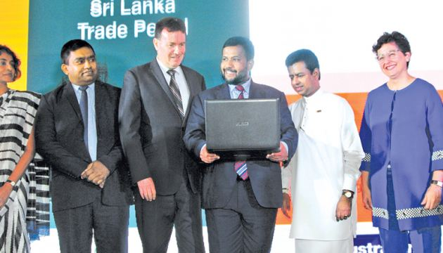 Sri Lanka DG Commerce Sonali Wijeratne, Secretary of Ministry K.D.N. Ranjith Asoka, Australian High Commissioner to Sri Lanka and Maldives Bryce Hutchesson, Minister Rishad Bathiudeen,  Deputy Minister of Industry and Commerce Buddika Pathirana, and the visiting Executive Director of ITC Arancha Gonzalez at national launch of SLTIP on July 20 in Colombo.
