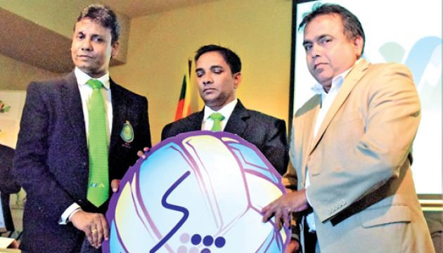 Caption:The Deputy General Manager of Sri Lanka Telecom Rohana Ellawala (right) handing over the Gold Sponsorship cheque to the President of Mercantile Volleyball Association Lakmal Jayasinghe (left) while General Secretary of the Association Saman Weerasuriya (Centre)looks on. Picture by Herbert Perera