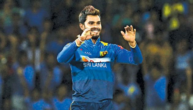 Dhananjaya de Silva who took the Man of the Match award in the one-off T20I against South Africa at the R Premadasa Stadium on Tuesday. AFP