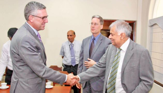 MCC COO Jonathan Nash and Chargé d'Affaires ad interim Robert Hilton meet Prime Minister Ranil Wickremesinghe in Colombo.