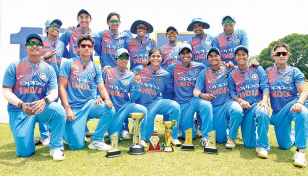 The winning Indian Women's T20 team with their trophies after winning the series against Sri Lanka 4-0.