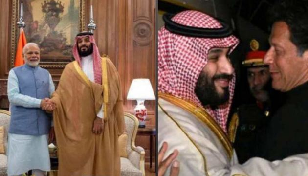 Saudi Crown Prince Mohammed bin Salman with Indian Prime Minister Narendra Modi and Pakistani Prime Minister Imran khan during his visits to India and Pakistan earlier this week.