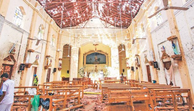 Destruction caused by Easter Sunday church bombing.
