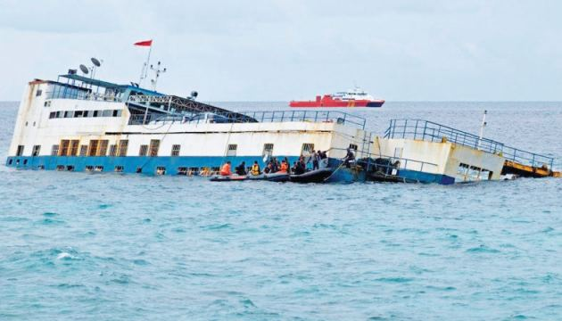 The ferry that ran aground in Indonesia.