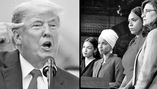 US President Donald Trump and the four congresswomen Alexandria Ocasio-Cortez of New York, Ilhan Omar of Minnesota, Ayanna Pressley of Massachusetts and Rashida Tlaib of Michigan.