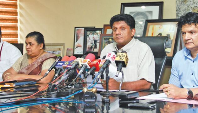 Minister Sajith Premadasa, National Film Corporation Chairperson Anusha Gokula Fernando and other officials at the media conference yesterday. Picture by Dushmantha Mayadunne