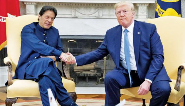 Pakistani Prime Minister Imran Khan during a meeting with US President Donald Trump in the Oval Office of the White House on Monday.