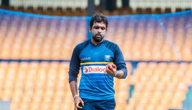 Sri Lanka off-spinner Dilruwan Perera who has recovered from a knee injury bowls at the P Sara Oval nets yesterday.