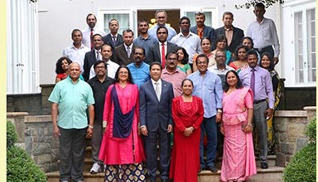 The group of Sri Lankan artistes with Sri Lankan Ambassador to the United States of America, Rodney Perera and Sri Lankan Embassy officials.