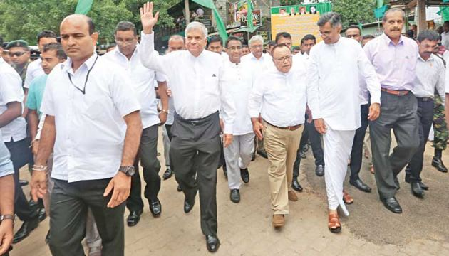 Prime Minister Ranil Wickremesinghe at the opening of the newly constructed Ankumbura bus stand.  Picture courtesy Prime Minister's Media Unit