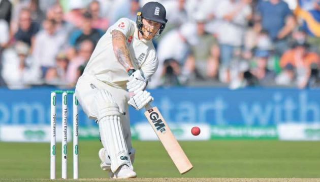 England's Ben Stokes hits a six during play on the fourth day of the third Ashes cricket Test match between England and Australia at Headingley in Leeds, northern England, on August 25. AFP