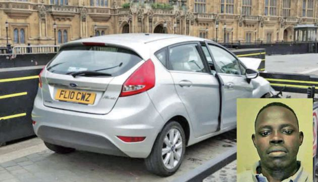 British Parliament attacker Salih Khater (Inset) and the silver Ford Fiesta he used for the attack.