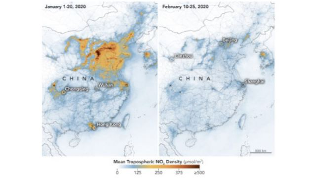 Air quality improving over China