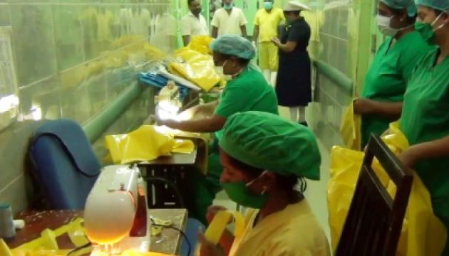 Tailoring PPE suits at Panadura Hospital