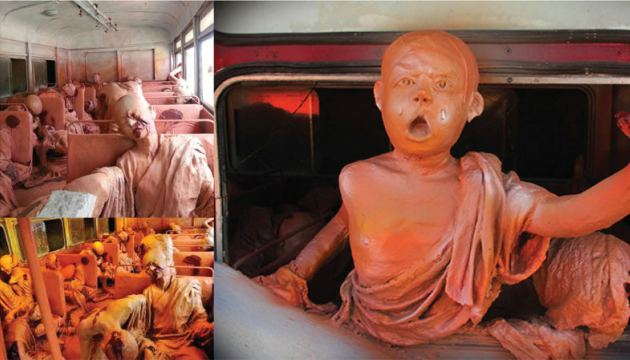 The massacre recalled in  sculpture inside the actual bus