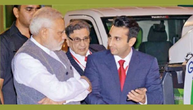 Adar Poonawalla, the Chief Executive Officer of the Serum Institute of India with Indian Prime Minister Narendra Modi
