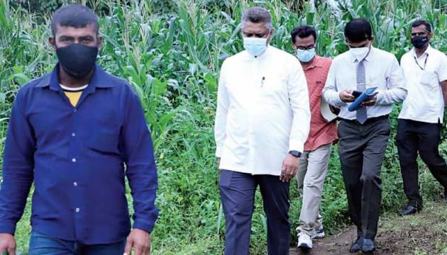 State Minister Kanaka Herath and officials on the inspection tour.
