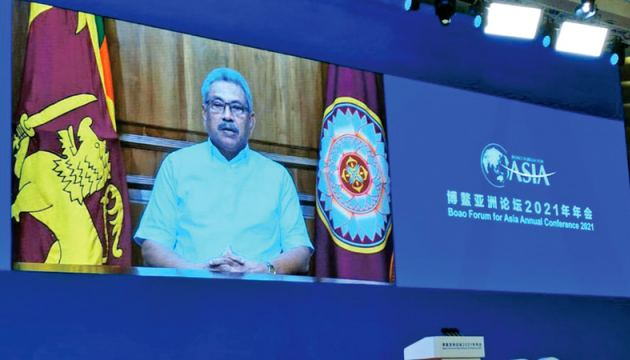 President Gotabaya Rajapaksa addressing the Forum online