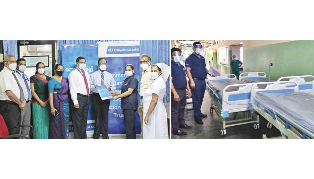 The donation of the three ICU beds to the Teaching Hospital Kegalle by the Commercial Bank Chairman Justice K. Sripavan and Managing Director S. Renganathan with representatives of the Bank and the Kegalle Hospital
