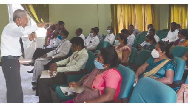 Youth Education Director G.C. Mendis addressing the participants.