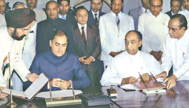 The signing of the Indo-Lanka Accord by President J.R. Jayewardene and Indian PM Rajiv Gandhi in Colombo in 1987.
