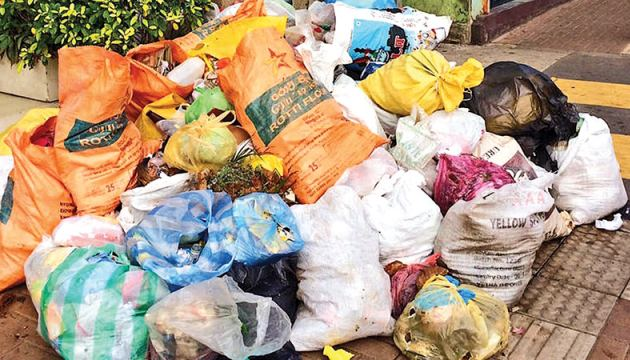 Filephoto of garbage collected in the sidewalks in Colombo.