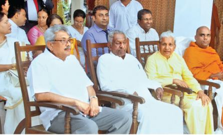 The Piyasena Rathuvitana Astrological Science Academy certificate Awards ceremony was held with the participation of former Defence Secretary Gotabhaya Rajapaksa. Here, Gotabhaya Rajapaksa and Piyasena Rathuvitana and other invitees at the event.  Picture by Chaminda Niroshana