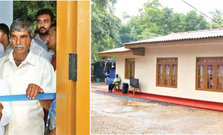 President Maithripala Sirisena and student Shalika Lakshan opening the house which was constructed with the help of the President in the Gannangolla area near the Parakrama Samudraya. Pictures by Hiratha Gunathillaka