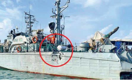 The damaged SLN attack craft at the  Kankesenthurai harbour.
