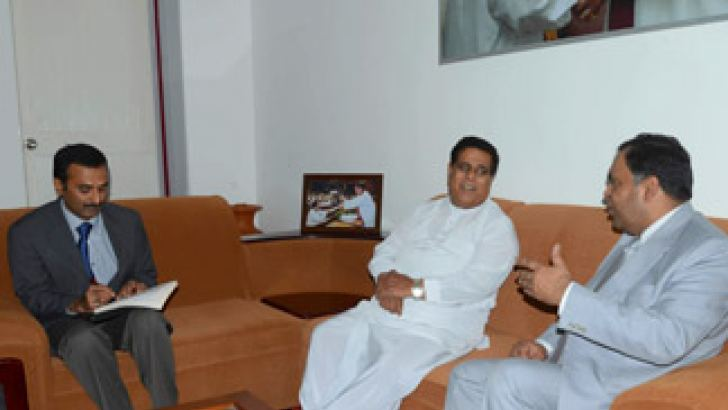 Irrigation and Water Resources Management Minister Nimal Siripala de Silva with Indian High to Sri Lanka YK Sinha at the Irrigation and Water Resources Management Ministry.