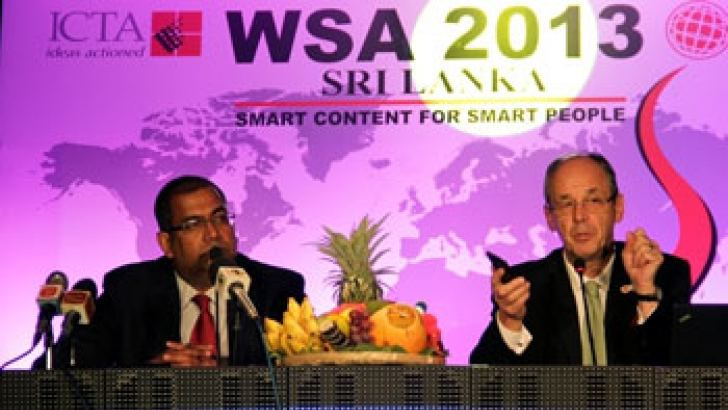 Reshan Dewapura, CEO, ICTA and Peter A. Bruck, Chairman, Board of Directors, WSA at the head table. Picture by Saliya Rupasinghe.