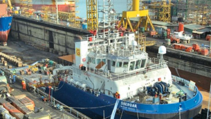 The offshore support vessel Shergar owned by Global Offshore Services Ltd. India was accommodated for major drydocking and lay up repairs last year.
