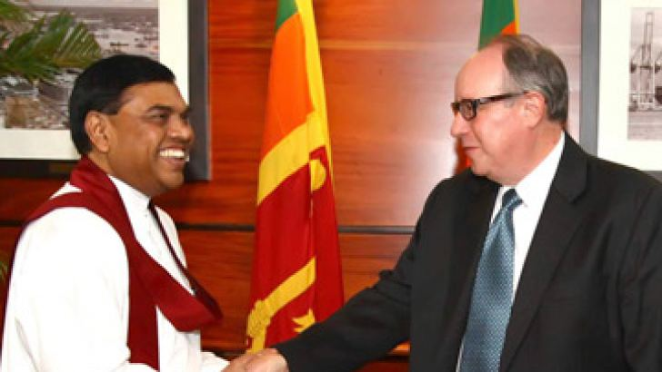 USAID Acting Mission Director Todd Sorenson paying a courtesy call on Economic Development Minister Basil Rajapaksa at the Ministry recently.