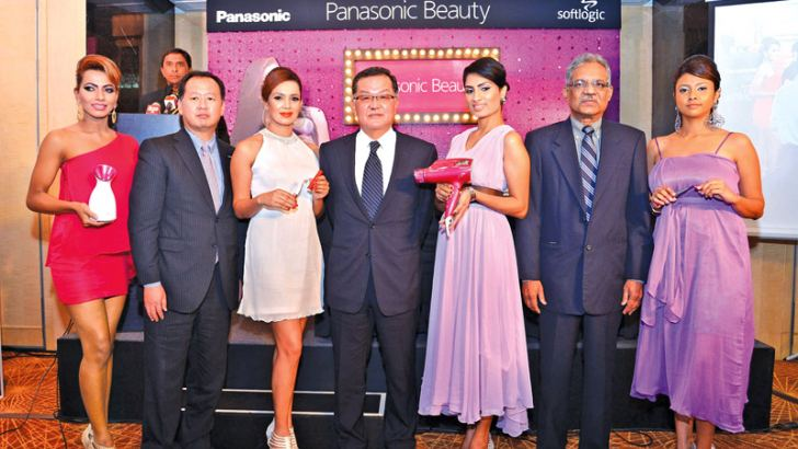 Hiroshi Miyaji (Director of Panasonic Greater Mekong Marketing and Sales), Junichiro Kitagawa (Managing Director of Panasonic Consumer Marketing Asia Pasific) and P. Nirmalan (Director of Softlogic PVT Ltd) at the Panasonic Beautycare product launch. Picture by Sarath Peiris