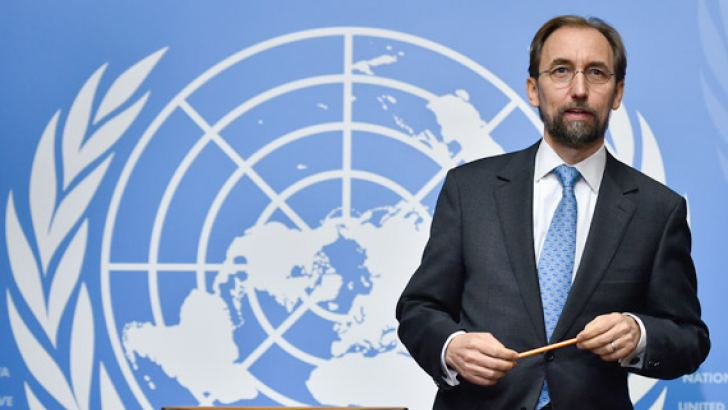 UN High Commissioner for Human Rights Zeid Raad Al Hussein at the press conference on Sri Lanka in Geneva. AFP