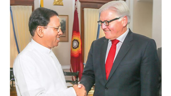 German Foreign Minister Frank Walter Steinmeier paying a courtesy call on President Maithripala Sirisena  at the Presidential Secretariat yesterday.