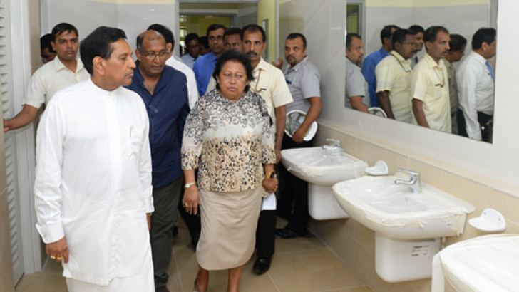 Health, Nutrition and Indigenous Medicine Minister Dr. Rajitha Senaratne inspects the construction of the new medical complex.  Picture by Health Ministry Media Unit