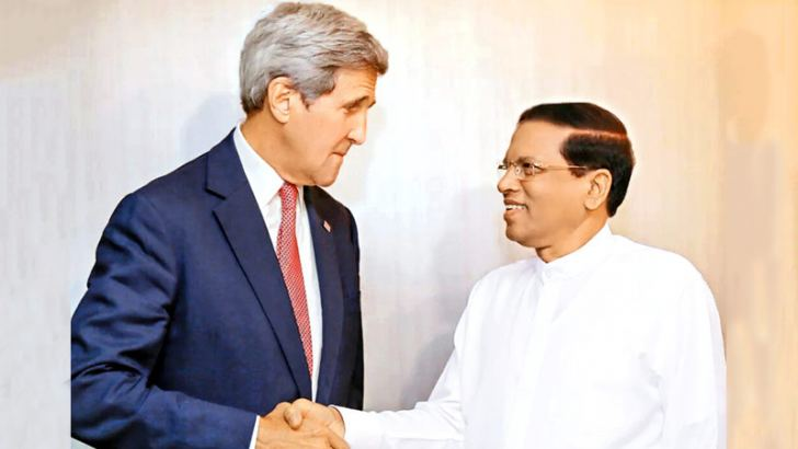 President Maithripala Sirisena meeting US Secretary of State John Kerry in New York on Sunday.