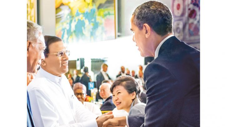President Maithripala Sirisena met US President Barack Obama during a luncheon hosted by the UN Secretary General Ban Ki-moon at the UN Headquarters yesterday.