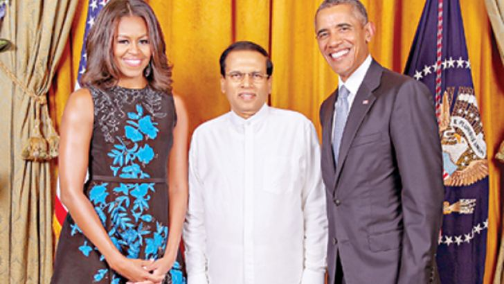 President Maithripala Sirisena attended a reception for visiting Heads of State/Government hosted by US President Barack Obama and First Lady Michelle Obama on Monday in New York. Picture by White House Photography