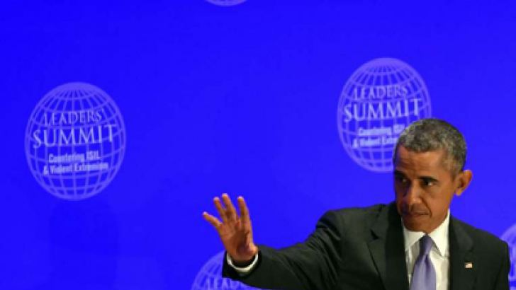 US President Barack Obama is seen addressing a counter-terrorism summit held on the sidelines of the UN General Assembly.
