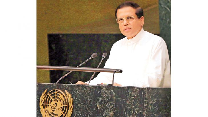 President Maithripala Sirisena addressing the 70th United Nations General Assembly sessions in New York