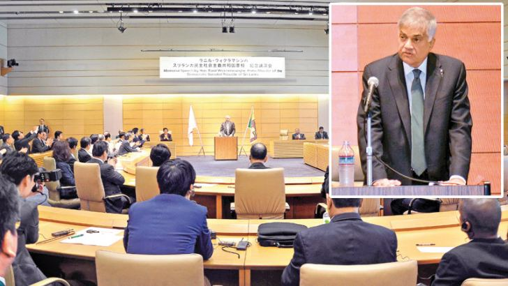 Prime Minister Ranil Wickremesinghe delivering a special address to the Japanese Parliament yesterday morning.