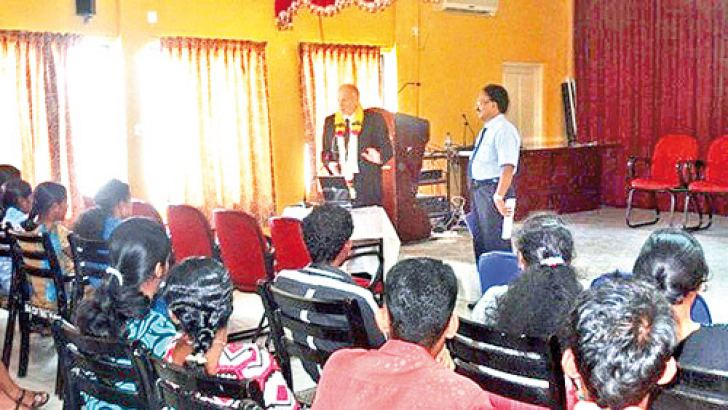 European Union Delegation to Sri Lanka First Counsellor Willem Verpoest addressing the job seekers at the career guidance session in Mannar