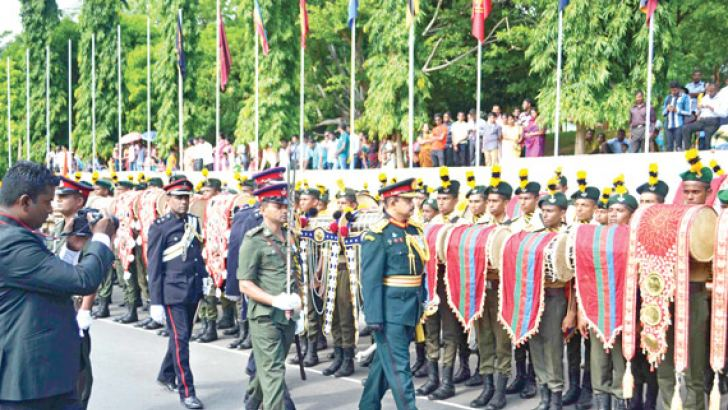 NCC Director Major General Chandana Rajaguru inspecting the band