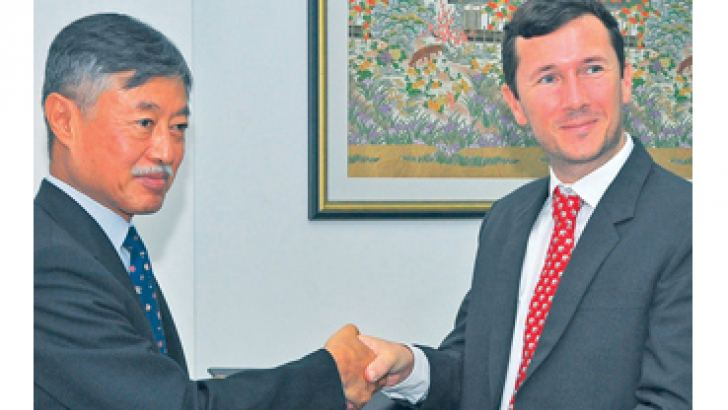 Japanese Ambassador Kenichi Suganuma and HALO Trust Programme Manager Damian O'Brien signed a grant-contract for the demining of conflict zones in Sri Lanka.