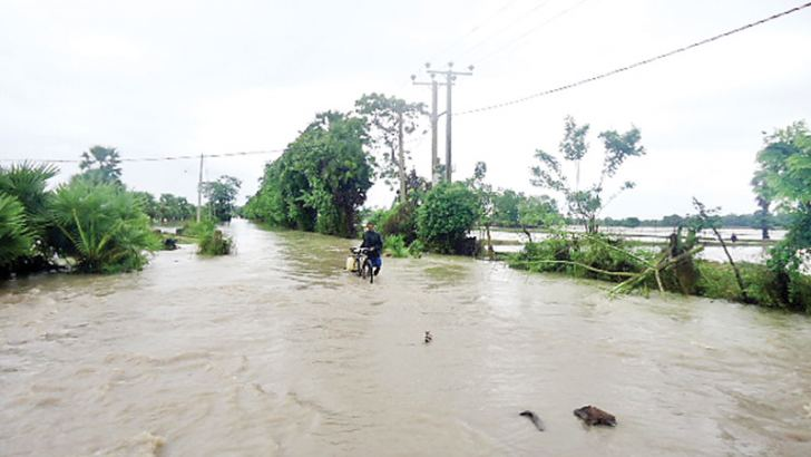 Nearly 331.5 mm of rain has been recorded in the Batticaloa district within 48 hours ending at 8.30 a.m. yesterday, Meteorology Department, Batticaloa officer-in-charge K. Sooriyakumaran said. Roads in Poraitivu Pattu and Manmunai South West Secretariat Divisions have been inundated. Picture by Sivam Packiyanathan, Batticaloa special correspondent