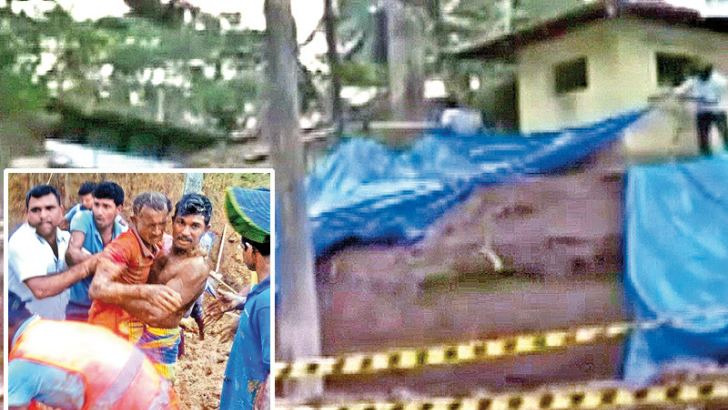 Two persons sustained serious injuries when an earth mound collapsed at a construction site in Thawalama, Malpudanella on Monday. S.R.Chaminda and S.P.S. Priyanga are receiving treatment at the Karapitiya and Hiniduma Hospitals. Pictures by Raveendra Liyanage, Hiniduma special cor